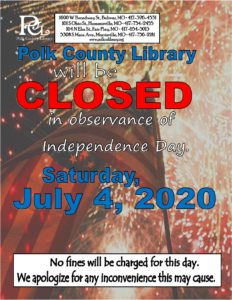 CLOSED - Independence Day @ Bolivar, Humansville, Fair Play, and Morrisville