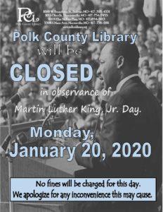 CLOSED - MLK, Jr. Day @ Bolivar, Humansville, Fair Play, and Morrisville